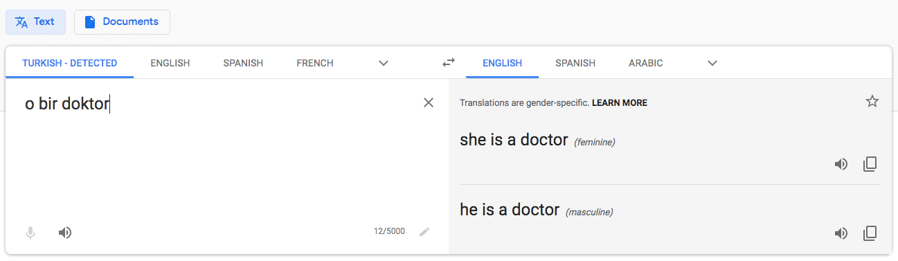 gender bias in translation